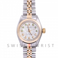 Rolex Oyster Perpetual Yellow Gold & Steel, Custom Mother Of Pearl Emerald and Diamond Dial, Fluted Bezel On A Jubilee Bracelet - Women's Pre-Owned Watch