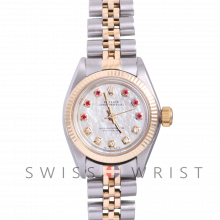 Rolex Oyster Perpetual Yellow Gold & Steel, Custom Mother Of Pearl Ruby and Diamond Dial, Fluted Bezel On A Jubilee Bracelet - Women's Pre-Owned Watch