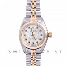 Rolex Oyster Perpetual Yellow Gold & Steel, Custom Mother Of Pearl Sapphire and Diamond Dial, Fluted Bezel On A Jubilee Bracelet - Women's Pre-Owned Watch