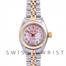 Rolex Oyster Perpetual Yellow Gold & Steel, Custom Pink Mother Of Pearl Dial With Diamond And Emeralds, Fluted Bezel On A Jubilee Bracelet - Women's Pre-Owned Watch