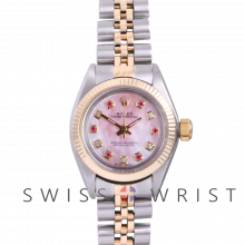 Rolex Oyster Perpetual Yellow Gold & Steel, Custom Pink Mother Of Pearl Dial With Diamond And Rubies, Fluted Bezel On A Jubilee Bracelet - Women's Pre-Owned Watch