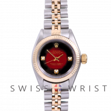 Rolex Oyster Perpetual Yellow Gold & Steel, Custom Red Vignette Dial with Diamonds at the 3,6 and 9 O'clock, Fluted Bezel On A Jubilee Bracelet - Women's Pre-Owned Watch