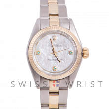 Rolex Oyster Perpetual Yellow Gold & Steel, Custom Mother Of Pearl Dial With Emeralds At 3,6,9 O'clock, Fluted Bezel On A Oyster Bracelet - Women's Pre-Owned Watch