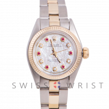 Rolex Oyster Perpetual Yellow Gold & Steel, Custom Mother Of Pearl Dial With Diamonds And Rubies, Fluted Bezel On A Oyster Bracelet - Women's Pre-Owned Watch