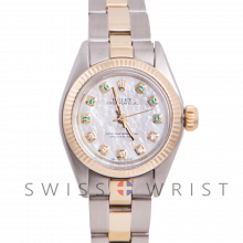 Rolex Oyster Perpetual Yellow Gold & Steel, Custom Mother of Pearl Emerald and Diamond Dial, Fluted Bezel On An Oyster Bracelet - Women's Pre-Owned Watch