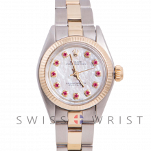 Rolex Oyster Perpetual Yellow Gold & Steel, Custom Mother of Pearl Ruby Dial, Fluted Bezel On An Oyster Bracelet - Women's Pre-Owned Watch