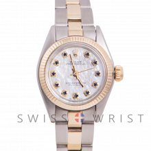 Rolex Oyster Perpetual Yellow Gold & Steel, Custom Mother of Pearl Sapphire Dial, Fluted Bezel On An Oyster Bracelet - Women's Pre-Owned Watch