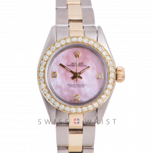 Rolex Oyster Perpetual Yellow Gold & Steel, Custom Pink Mother of Pearl 3,6,9 Diamond Dial, Diamond Bezel On An Oyster Bracelet - Women's Pre-Owned Watch
