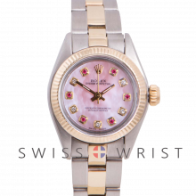 Rolex Oyster Perpetual Yellow Gold & Steel, Custom Pink Mother Of Pearl Dial With Diamond And Rubies, Fluted Bezel On A Oyster Bracelet - Women's Pre-Owned Watch
