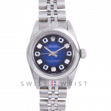 Rolex Oyster Perpetual No Date - Custom Blue Vignette Sapphire & Diamond Dial - Stainless Steel - Smooth Bezel On a Jubilee Band - Pre-Owned