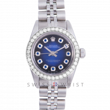 Rolex Oyster Perpetual No Date - Custom Blue Vignette Sapphire Dial - Stainless Steel - Diamond Bezel On a Jubilee Band - Pre-Owned