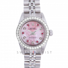 Rolex Oyster Perpetual No Date - Custom Pink Mother of Pearl Dial with Alternating Rubies and Diamonds - Stainless Steel - Diamond Bezel On a Jubilee Band - Pre-Owned
