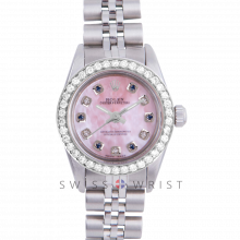 Rolex Oyster Perpetual No Date - Custom Pink Mother of Pearl Dial with Alternating Sapphires and Diamonds - Stainless Steel - Diamond Bezel On a Jubilee Band - Pre-Owned