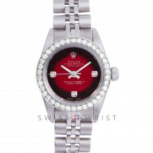Rolex Oyster Perpetual No Date - Custom Red Vignette 3 Stone Diamond Dial - Stainless Steel - Diamond Bezel On a Jubilee Band - Pre-Owned