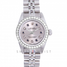 Rolex Oyster Perpetual No Date - Custom Silver Alternating Sapphire and Diamond Dial - Stainless Steel - Diamond Bezel On a Jubilee Band - Pre-Owned