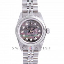Rolex Oyster Perpetual No Date - Custom Tahitian Diamond Dial - Stainless Steel - Smooth Bezel On a Jubilee Band - Pre-Owned