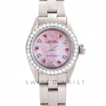 Rolex Oyster Perpetual No Date - Custom Pink Mother of Pearl Dial with Alternating Rubies and Diamonds - Stainless Steel - Diamond Bezel On an Oyster Band - Pre-Owned