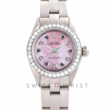 Rolex Oyster Perpetual No Date - Custom Pink Mother of Pearl Dial with Alternating Sapphires and Diamonds - Stainless Steel - Diamond Bezel On an Oyster Band - Pre-Owned