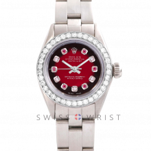 Rolex Oyster Perpetual No Date - Custom Red Vignette Alternating Ruby and Diamond Dial - Stainless Steel - Diamond Bezel On an Oyster Band - Pre-Owned