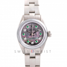 Rolex Oyster Perpetual No Date - Custom Tahitian Emerald & Diamond Dial - Stainless Steel - Smooth Bezel On an Oyster Band - Pre-Owned