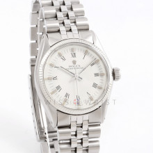 Rolex Oyster Perpetual 31 mm 6751 Ladies Stainless Steel, White Roman Dial w/ Fluted  Bezel on a Jubilee Bracelet - Pre-Owned Ladies Watch