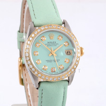 Rolex Datejust 31mm 6824 Yellow Gold & Stainless Steel w/ Custom Mint Green Diamond Dial and Diamond Bezel with Matching Green Leather Band - Ladies Pre-Owned Watch