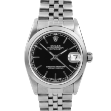 Pre-owned Rolex Midsize Datejust Watch - Stainless Steel Black Stick Dial & Smooth Bezel On An Jubilee Band