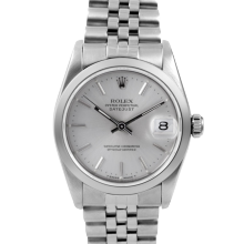 Pre-owned Rolex Midsize Datejust Watch - Stainless Steel Silver Stick Dial & Smooth Bezel On An Jubilee Band