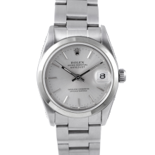 Pre-owned Rolex Midsize Datejust Watch - Stainless Steel Silver Stick Dial & Smooth Bezel On An Oyster Band