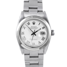 Pre-owned Rolex Midsize Datejust Watch - Stainless Steel White Roman Dial & Smooth Bezel On An Oyster Band
