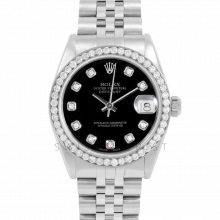 Rolex Datejust 31 6800 Midsize Stainless Steel, Custom Black Diamond Dial, Diamond Bezel on a Jubilee Bracelet - Ladies Pre-Owned Non-Quickset Watch