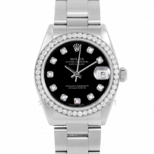 Rolex Datejust 31 6800 Midsize Stainless Steel, Custom Black Diamond Dial, Diamond Bezel on an Oyster Bracelet - Ladies Pre-Owned Non-Quickset Watch