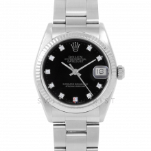 Rolex Datejust 31 6827 Midsize Stainless Steel, Factory Black Diamond Dial, Fluted Bezel on an Oyster Bracelet - Ladies Pre-Owned Non-Quickset Watch