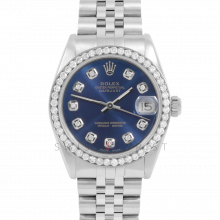 Rolex Datejust 31 6800 Midsize Stainless Steel, Custom Blue Diamond Dial, Diamond Bezel on a Jubilee Bracelet - Ladies Pre-Owned Non-Quickset Watch