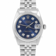 Rolex Datejust 31 6827 Midsize Stainless Steel, Custom Blue Diamond Dial, Fluted Bezel on a Jubilee Bracelet - Ladies Pre-Owned Non-Quickset Watch