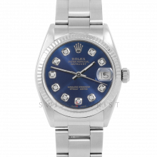 Rolex Datejust 31 6827 Midsize Stainless Steel, Custom Blue Diamond Dial, Fluted Bezel on an Oyster Bracelet - Ladies Pre-Owned Non-Quickset Watch