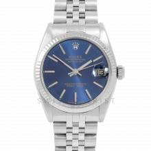 Rolex Datejust 31 6827 Midsize Stainless Steel, Blue Stick Dial, Fluted Bezel on a Jubilee Bracelet - Ladies Pre-Owned Non-Quickset Watch