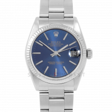Rolex Datejust 31 6827 Midsize Stainless Steel, Blue Stick Dial, Fluted Bezel on an Oyster Bracelet - Ladies Pre-Owned Non-Quickset Watch