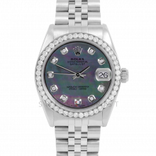 Rolex Datejust 31 6800 Midsize Stainless Steel, Custom Black Mother of Pearl Diamond Dial, Diamond Bezel on a Jubilee Bracelet - Ladies Pre-Owned Non-Quickset Watch