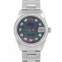 Rolex Datejust 31 6800 Midsize Stainless Steel, Custom Black Mother of Pearl Diamond Dial, Diamond Bezel on an Oyster Bracelet - Ladies Pre-Owned Non-Quickset Watch