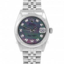 Rolex Datejust 31 6827 Midsize Stainless Steel, Custom Black Mother of Pearl Diamond Dial, Fluted Bezel on a Jubilee Bracelet - Ladies Pre-Owned Non-Quickset Watch