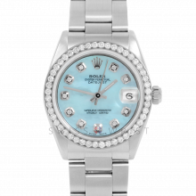 Rolex Datejust 31 6800 Midsize Stainless Steel, Custom Light Blue Mother of Pearl Diamond Dial, Diamond Bezel on an Oyster Bracelet - Ladies Pre-Owned Non-Quickset Watch