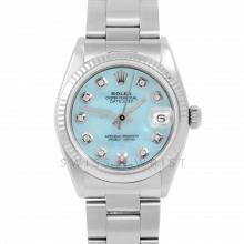 Rolex Datejust 31 6827 Midsize Stainless Steel, Custom Light Blue Mother of Pearl Diamond Dial, Fluted Bezel on an Oyster Bracelet - Ladies Pre-Owned Non-Quickset Watch