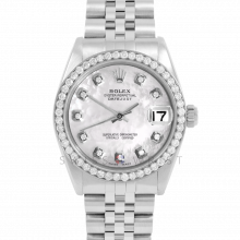 Rolex Datejust 31 6800 Midsize Stainless Steel, Custom Mother of Pearl Diamond Dial, Diamond Bezel on a Jubilee Bracelet - Ladies Pre-Owned Non-Quickset Watch