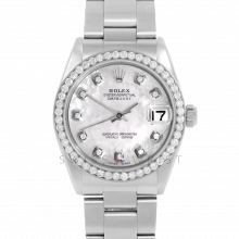 Rolex Datejust 31 6800 Midsize Stainless Steel, Custom Mother of Pearl Diamond Dial, Diamond Bezel on an Oyster Bracelet - Ladies Pre-Owned Non-Quickset Watch