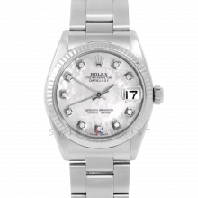 Rolex Datejust 31 6827 Midsize Stainless Steel, Custom Mother of Pearl Diamond Dial, Fluted Bezel on an Oyster Bracelet - Ladies Pre-Owned Non-Quickset Watch
