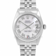 Rolex Datejust 31 6827 Midsize Stainless Steel, Custom Mother of Pearl Roman Dial, Fluted Bezel on a Jubilee Bracelet - Ladies Pre-Owned Non-Quickset Watch