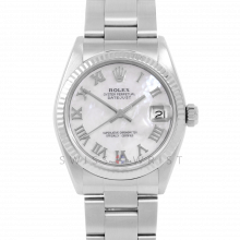 Rolex Datejust 31 6827 Midsize Stainless Steel, Custom Mother of Pearl Roman Dial, Fluted Bezel on an Oyster Bracelet - Ladies Pre-Owned Non-Quickset Watch