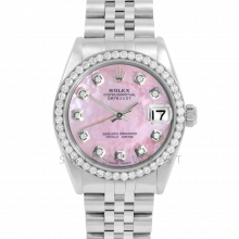 Rolex Datejust 31 6800 Midsize Stainless Steel, Custom Pink Mother of Pearl Diamond Dial, Diamond Bezel on a Jubilee Bracelet - Ladies Pre-Owned Non-Quickset Watch