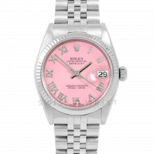 Rolex Datejust 31 6827 Midsize Stainless Steel, Pink Roman Dial, Fluted Bezel on a Jubilee Bracelet - Ladies Pre-Owned Non-Quickset Watch